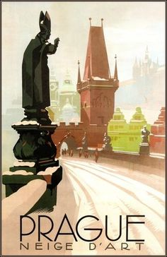Prague • Czechlslovaka 1935 (Now Czech Republic)  _________________________ #Vintage #Travel #Poster