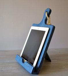Wood Cutting Board Cookbook & iPad Stand in Blue.