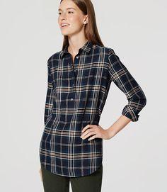 Primary Image of Shimmer Plaid Tunic Softened Shirt... LOFT