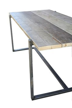 Pared down but stunning, the Uff table combines reclaimed scaffold boards with a box steel frame.