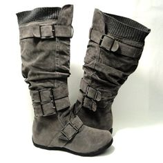 Amazon.com: Womens Knee High Faux Suede Flat Winter Buckle Boots Gray , 5.5-10: Shoes