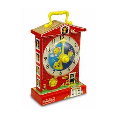 FISHER PRICE Music Box Teaching Clock: Introduced in 1968, the fisher price music box teaching clock has made learning to tell time fun for generations of children. Designed as a little red school house, the fisher price classic music box teaching clock plays grandfathers clock and has a rotating dial with timeless pictures of preschoolers hour by hour, as the clock face and minute hand revolve to the soothing ticking of time. *Rotating clock dail *Sturdy carry handle