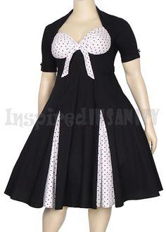 Pinup Polka Dot Peep Split 50s Swing Dress
