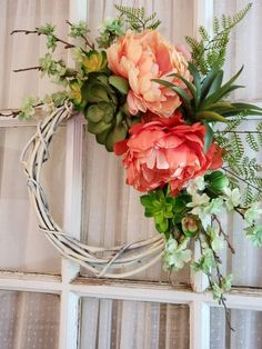White Grapevine Coral Peonies Succulents Wreath by GoodWreathsByKathy on Etsy Front Door Decor, Wreaths For Front Door, Door Wreaths, Front Doors, Front Porch, Ribbon Wreaths, Floral Wreaths, Burlap Wreaths, Grapevine Wreath