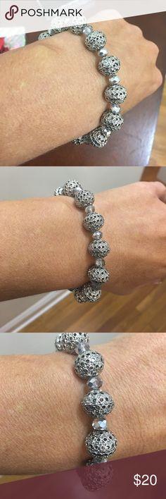 NWT STERLING SILVER ! Beautiful carved bracelet ! NWT!! sterling silver stretch carved beaded bracelet!! Truly beautiful!! Jewelry Bracelets