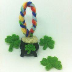 Pot Of Gold Decoration Keyring Irish Leprechaun St Patricks Day Ireland Souveneir Dublin Galway Emerald Isle Needle Felted Wool Rainbow Gift