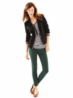 terry moto jacket + colored skinnies   We ♥ Outfits | Gap swap a black cardigan and army green skinnies and it would be mine. i love this combo.