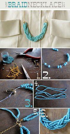 DIY Jewelry DIY Necklace DIY Braided Bead Necklace