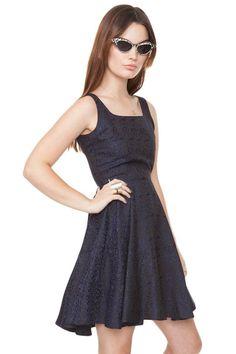 Black & Blue Jacquard Sleeveless Dress