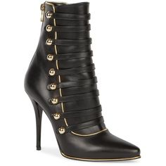 Balmain Alien Leather Point-Toe Booties ($1,915) ❤ liked on Polyvore featuring shoes, boots, ankle booties, apparel & accessories, black, ankle boots, black bootie, black leather boots, leather boots and leather booties