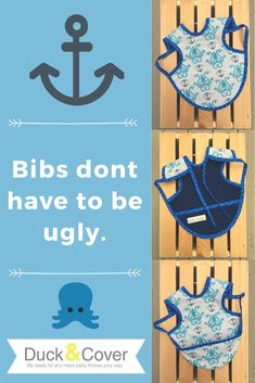Keep your kiddo's clothes clean without compromising their style. Duck & Cover has dozens of prints to choose from. Find them all in the Etsy shop, including this octopus and anchors print, and learn about all the features you'll love. Stocking Stuffers For Baby, Baby Stocking, Handmade Shop, Handmade Art, Baby Accessories, Handmade Accessories, Coastal Wall Decor, Anchor Print, First Birthday Gifts