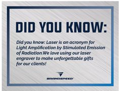Did you know? We love using our laser engraver to make unforgettable gifts for our clients! #brandspeed #April #2019