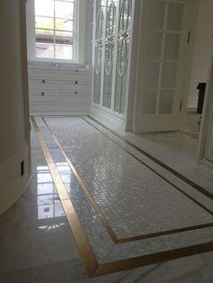 Gold & Pearl Tile in this Edmonton Closet – Oh You Fancy! Gold & Pearl Tile in this Edmonton Closet – Oh You Fancy! Marble Bathroom Floor, Bath Tiles, Room Tiles, Bathroom Flooring, Entryway Tile Floor, Master Bathroom, Bathroom Closet, Marble Floor, Master Closet