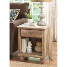 Better Homes and Gardens Crossmill Weathered Collection End Table, Lintel Oak