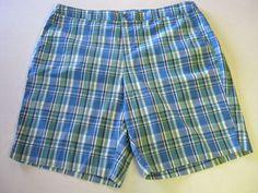CJ Banks Shorts 16 W Blue Green Plaid NEW #CJBanks #CasualShorts