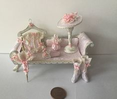 Handmade DollHouse Miniature 1:12 scale Ladies pink cream seat matching set Corset hat boots gloves parasol and bag by Miniaturefrills on Etsy