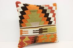 Traditional Kilim Pillow Cover 16 x 16 Seat by kilimwarehouse