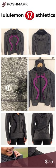 Lululemon zip up Hoodie sweatshirt Jacket 6 Size 6. Item is gray with purple logo accent (black and gray photos added to show how the jacket fits on a model). Worn twice. In excellent like new condition. lululemon athletica Tops Sweatshirts & Hoodies