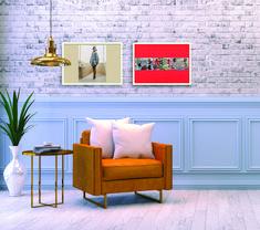 Both artworks are by Miles Aldridge Miles Aldridge, Exposed Brick Walls, Beautiful Interiors, Online Art, Artworks, Fine Art Prints, Gallery Wall, Contemporary, Artist