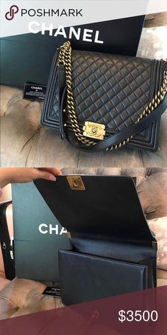 56084523e63a Authentic Chanel Le Boy. Navy. Large. Authentic Chanel Le Boy. Navy.