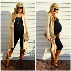 I love black with tan. I have a black maternity camisole and black leggings that could be paired with a long tan sweater like this.