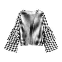 Tiered Flare Sleeve Checked Blouse (€25) ❤ liked on Polyvore featuring tops, blouses, zaful, bell sleeve blouse, flared sleeve top, tiered top, checkered blouse and checked blouse
