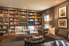 """The books and artifacts add color to this calm oasis. """"A Nashville Family Home Updated And Reimagined"""" www.StyleBlueprint.com"""