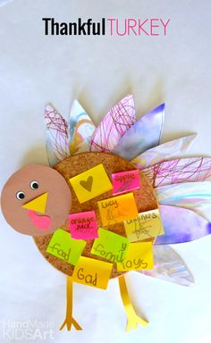 Thankful Turkey Cork Board: Thanksgiving Crafts for Kids. Recycle old artwork with this easy craft for kids and discuss as a family what you are thankful for.