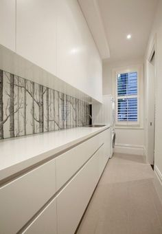 spruce up the minimalist kitchen with a botanical print wallpaper backsplash like this one Printed Glass Splashbacks, Cole And Son Wallpaper, Kitchen Wallpaper, Glass Kitchen, Kitchen Backsplash, Backsplash Ideas, Minimalist Kitchen, Home Kitchens, Armoire
