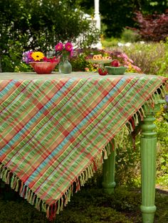 Does anything say summertime more than a cool cotton seersucker table setting? Slice up that watermelon and pour some fresh lemonade because we've got you covered for a joyful season making memories to last a lifetime. Hand-knotted fringe detailing and a warm weather pallet highlighted by burnt orange and aqua.