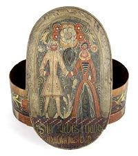 Pennsylvania Dutch Bride's Box and Cover    Made in United States  Late 18th century    Artist/maker unknown, American, Pennsylvania German