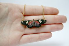 Miniature Wooden Butterfly Necklace by ladybirdlikes on Etsy, Polymer Clay Crafts, Polymer Clay Jewelry, Clay Earrings, Necklace Moon, Heart Pendant Necklace, Diy Jewelry, Jewelry Accessories, Jewelry Making, Jewlery