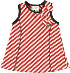Vestido de rayas de color blanco y rojo. Para ver más prendas de niña: http://www.monsterskids.com/es/3-ropa-nina  #moda #ninas #vestido