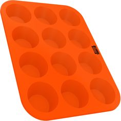 Silicone Muffin Cupcake Baking Pan Tray - Standard Size - 12 Cups - 100% Pure Food Grade Non-Stick Silicone - Orange - By Belgoods Bakeware *** Insider's special offer that you can't miss : Baking pans