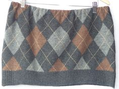Brown and grey Argyle skirt / bum warmer, upcycled Women's mini skirt made from a recycled wool sweater