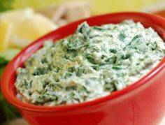 Cheese Spinach and Artichoke Dip - my hubby will love this! The dip itself is low-carb.it's what you choose to dip in it that is the killer! Applebees Spinach Artichoke Dip, Vegan Spinach Dip, Creamy Spinach, Artichoke Spinach, Artichoke Hearts, Feta Dip, Baby Spinach, Vegetarian Recipes, Cooking