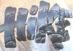 Hike Scene Sweatshirt Mountain Hiker Hiking Hanes Heavyweight Size Large Gray  #Hanes #Sweatshirt