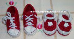 """Olá!  O bebê poderá até sair da """"Maternidade"""" calçando um destes, tecidos em lã ou linha!  O tênis e sapatinho cor Rubi teci em lã e o sapat..."""