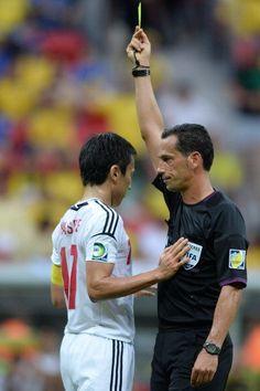 Yelloow cardf to Japan´s midfielder Makoto Hasebe | Brasil 3-0 Japón. 15.06.13.