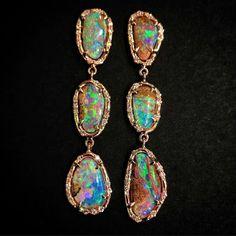 GORGEOUS Earrings. @dajhangems. Boulder Opal and Diamonds.
