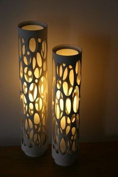 via Ashbee Design: PVC Inspiration! can light in random or patterned core holed PVC pipe. Pvc Pipe Crafts, Pvc Pipe Projects, Eco Deco, Deco Originale, Ideias Diy, Can Lights, Handmade Home Decor, Handmade Lamps, Handmade Ceramic