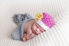 Flower Hat Baby Girl Hat Pink White Grey preemie by UniqueKidz, $14.00