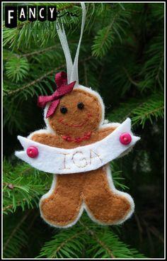 Novelty kids apron Gingerbread Man felt pinny childrens Christmas festive