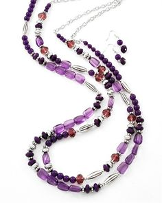 Crystal Plum Necklace Set from Signature Style 365