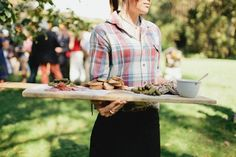 Wedding canapes and serving attire