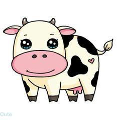 Cute Animal Drawings Kawaii, Cute Easy Drawings, Draw So Cute Animals, Cow Drawing Easy, Kawaii Doodles, Kawaii Art, Disney Drawings, Cartoon Drawings, Kindergarten Drawing