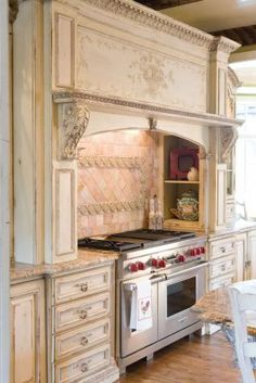 Habershams version of a french country in a distressed white cabinet