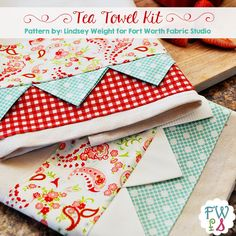 Giveaway: Tea Towel Kit and Free Pattern craft craft diy. Giveaway: Tea Towel Kit and Free Pattern craft craft diy craft for Sewing Lessons, Sewing Hacks, Sewing Ideas, Dish Towels, Tea Towels, Quilting Projects, Sewing Projects, Fabric Crafts, Sewing Crafts