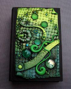 Lizard Skin Book Box made from polymer clay ang glass gems in a wonderful green color by Chris Kapono, aka MandarinMoon, via Flickr