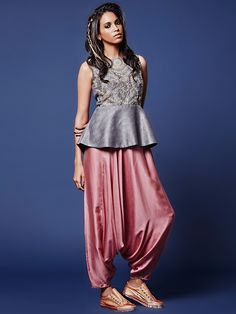 Grey Pink Silk Peplum Salwar Suit
